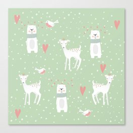 Fawn and bear mint green Canvas Print