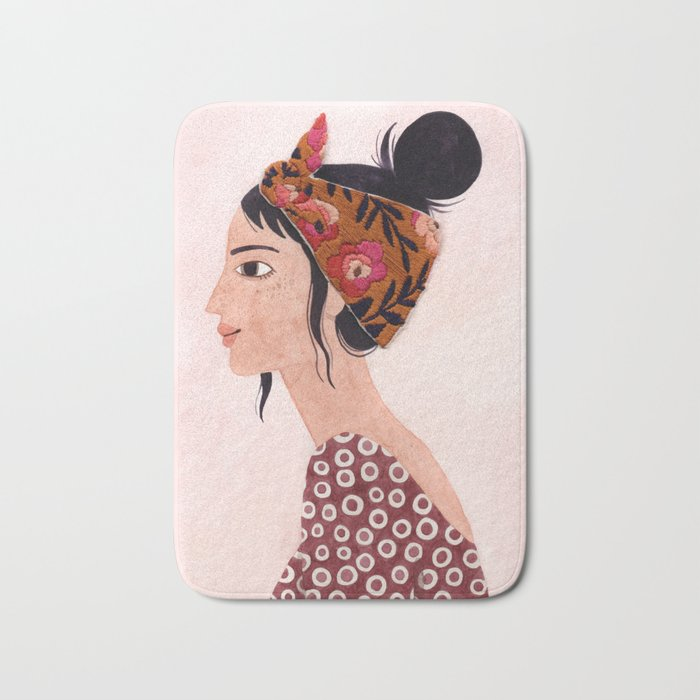 Embroidered scarf Bath Mat