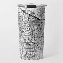 Amsterdam White Map Travel Mug