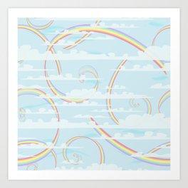 Rainbow Swirls with Clouds Art Print