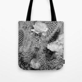 Hedgehog Cactus In Bloom II - Black and White Tote Bag