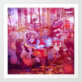 Wild Horses, Carousel carnival art Art Print