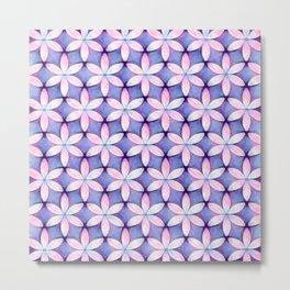 Daisies Pink Blue Metal Print