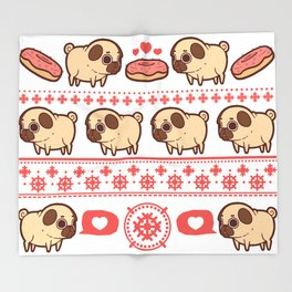 Puglie Christmas Sweater (Red) Throw Blanket