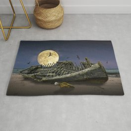 Moon and Wooden Shipwreck with Gulls Rug