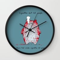 cigarettes Wall Clocks featuring Cigarettes don't kill people. by Jason Vaughan