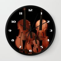 mortal instruments Wall Clocks featuring String Instruments by Simone Gatterwe