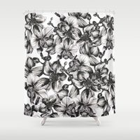 orchid Shower Curtains featuring orchid by GYYO