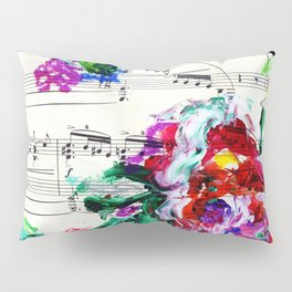Musical Beauty - Floral Abstract - Piano Notes Pillow Sham