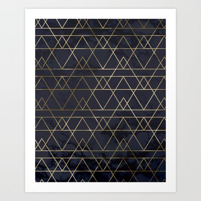 Modern Deco Gold and Marble Geometric Mountains on Navy Blue Kunstdrucke