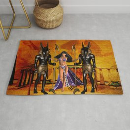 Egyptian women with anubis Rug
