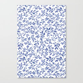 Leaves and Berries | Blue Palette Canvas Print