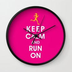 Keep Calm and Run On (female runner) Wall Clock