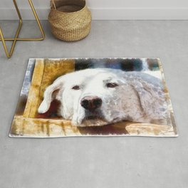 White Labrador Dog Lying Down Relaxing.  Watercolor Painting Style. Rug