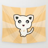 kawaii Wall Tapestries featuring Kawaii Cat by Nir P