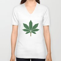 weed V-neck T-shirts featuring weed by rubenmontero