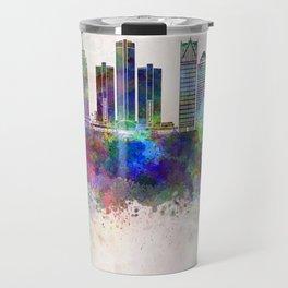 Detroit skyline in watercolor background Travel Mug