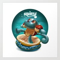 squirtle Art Prints featuring Squirtle by Danilo Fiocco