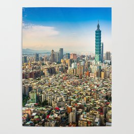 Aerial view and cityscape of Taipei, Taiwan Poster