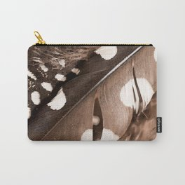 Beautiful Feathers On A Dark Brown Background #decor #buyart #society6 Carry-All Pouch