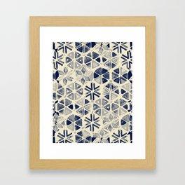 Hand Painted Triangle & Honeycomb Ink Pattern - indigo & cream Framed Art Print