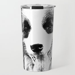 border collie shepherd dog splatter watercolor white Travel Mug