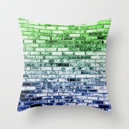 Colored Bricks - Green and Bllue Throw Pillow