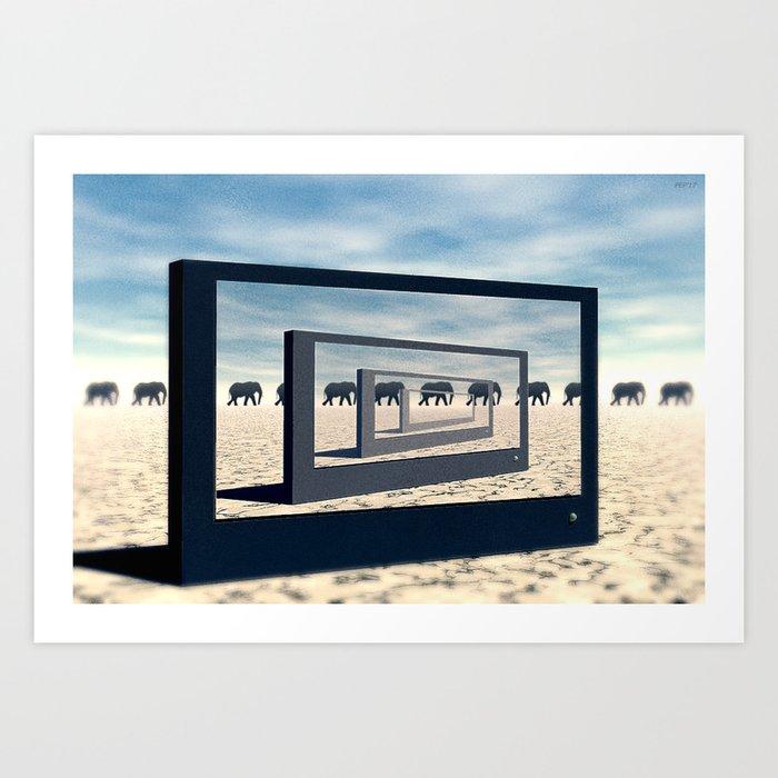 Surreal Elephant Desert Scene Art Print