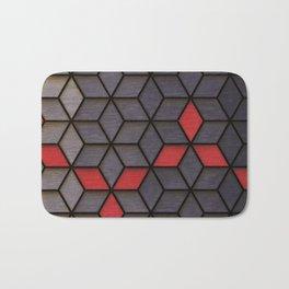 Grey Black Red Cubes Bath Mat