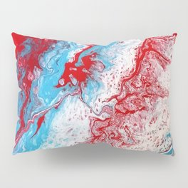 Marble Red Blue Paint Splatter Abstract Painting by Jodilynpaintings Red Pillow Sham