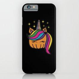 Pumpkin Unicorn Rainbow Hair Halloween iPhone Case