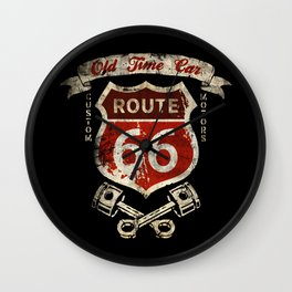 Old Time Car Road 66 Wall Clock