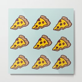 Pizza Pattern with Teal Background Metal Print