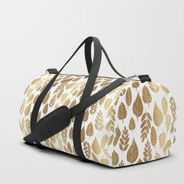 Gold Autumn Leaf Pattern Duffle Bag