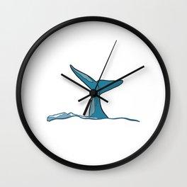 Whale fish fin Wall Clock