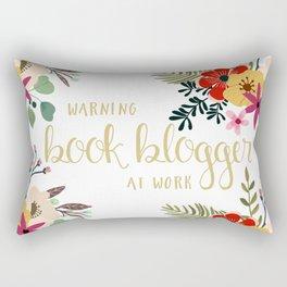 Warning Book Blogger At Work Rectangular Pillow