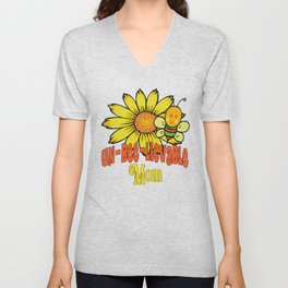 Unbelievable Mom Sunflowers and Bees Unisex V-Neck