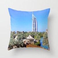 arab Throw Pillows featuring Dubai - Burj Al Arab by Art-Motiva
