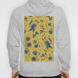 Elegant Blue Passion Flower on Mustard Yellow Hoody