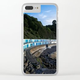 Meadfoot Imposing Cliffs And Beach Huts Clear iPhone Case