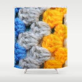 Crochet Granny Squares Shower Curtain