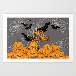 Pumpkins Happy Halloween Illustration Art Print