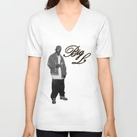 2pac V-neck T-shirts featuring Big L //Black&White by Gold Blood