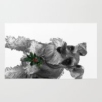 schnauzer Area & Throw Rugs featuring Christmas Schnauzer by RsDesigns