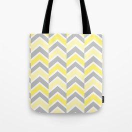 Yellow Gray Chevron Tile Tote Bag