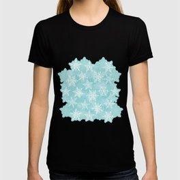 blue winter background with white snowflakes T-shirt