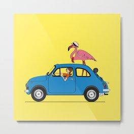 Pink Flamingo Fiat500 Metal Print