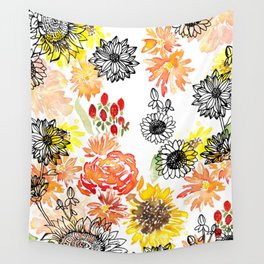Autumn Florals Wall Tapestry