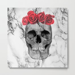 Skull Rose Metal Print