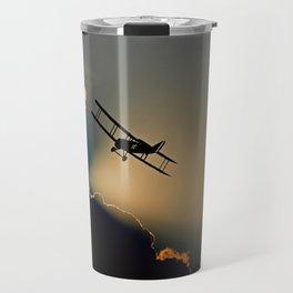 aircraft sunset clouds Travel Mug